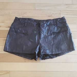 Guess Black Pleather Shorts 6